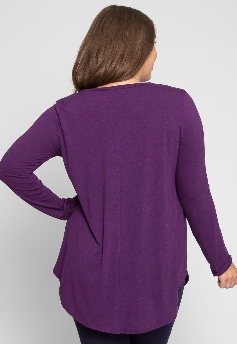 Plus Size Perfection V-Neck Knit Top in Purple - Plus Tops - Wetseal