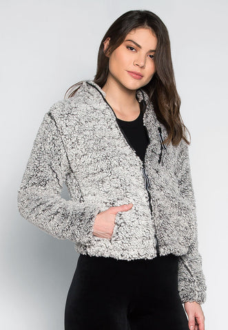 Above the Clouds Fluffy Jacket in Gray
