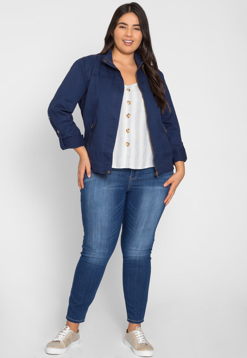 Plus Size Adventures Utility Jacket in Navy - Plus Outerwear - Wetseal