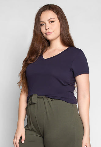 Plus Size The Basics V-Neck Tee in Navy
