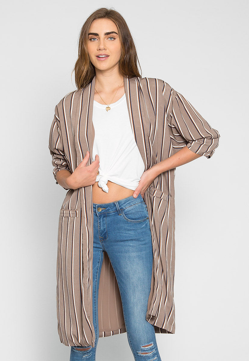 Rumors Longline Stripe Kimono in Gray - Jackets & Coats - Wetseal