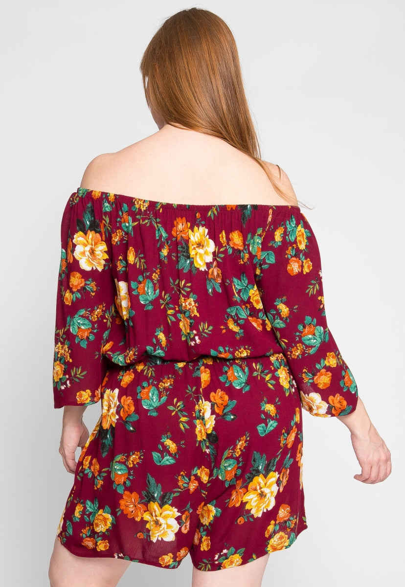Plus Size Alice Floral Romper in Burgundy - Plus Rompers & Jumpsuits - Wetseal