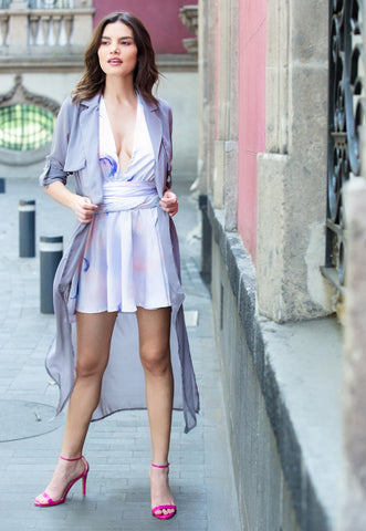 Cloudy Day Chiffon Duster Trench Coat