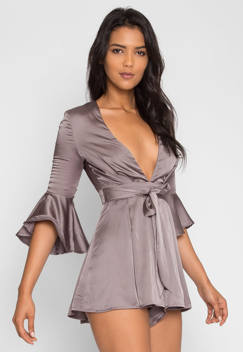 Mars Satin Flare Romper in Gray - Rompers & Jumpsuits - Wetseal