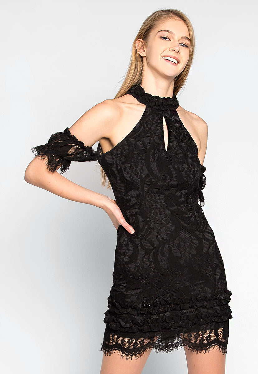 Full Moon Lace Halterneck Dress - Dresses - Wetseal