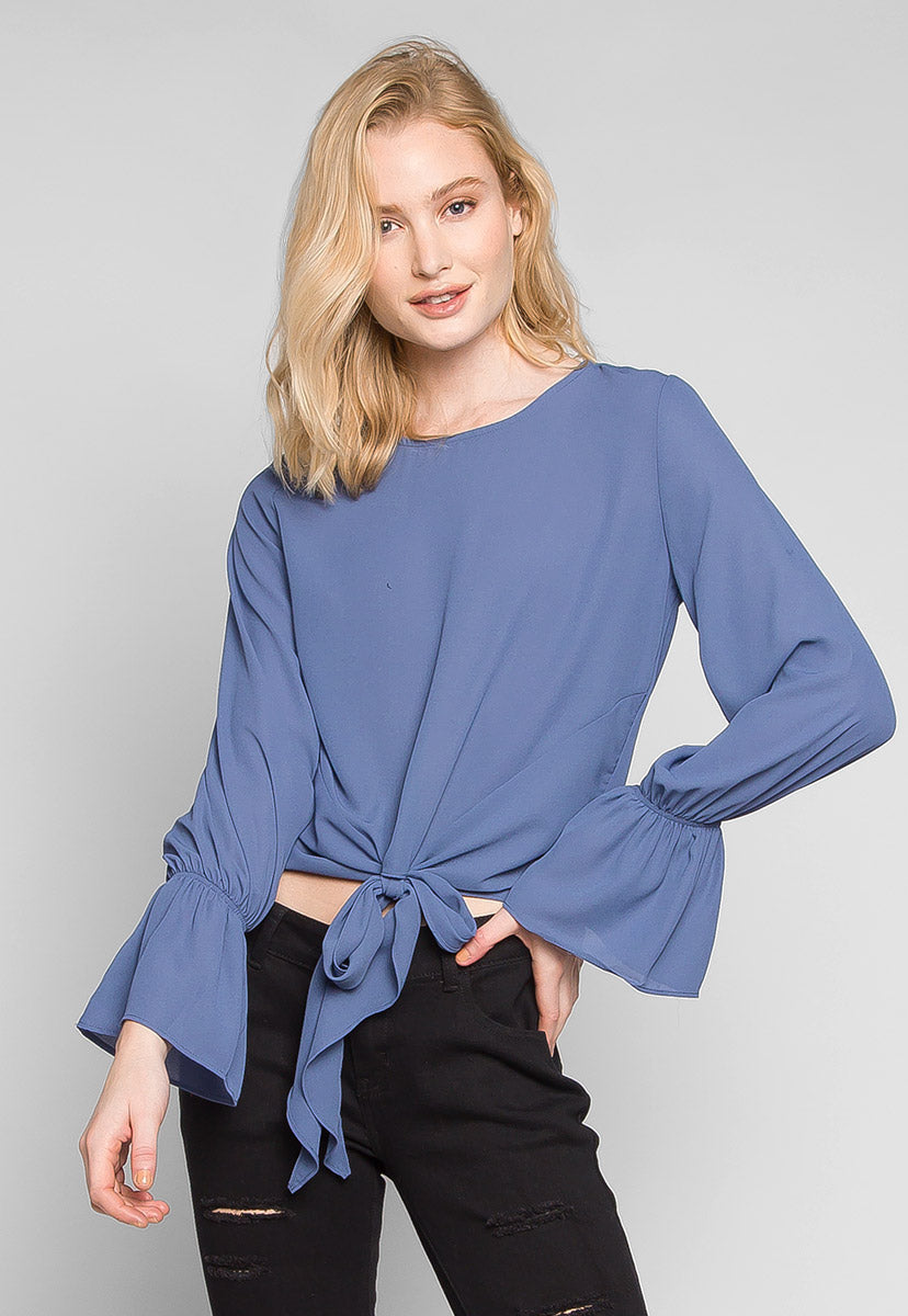 Blue Sky Forever Tie Waist Blouse - Shirts & Blouses - Wetseal