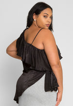 Plus Size Asymmetrical Satin Blouse in Black