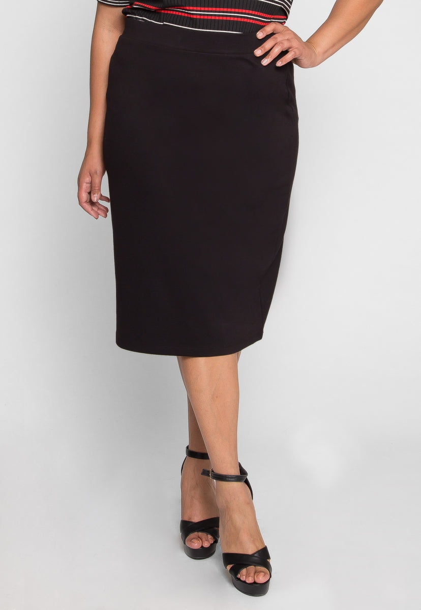 Plus Size Ease Pencil Skirt in Black - Plus Bottoms - Wetseal