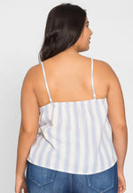 Plus Size Fun Button Front Stripe Top in Blue