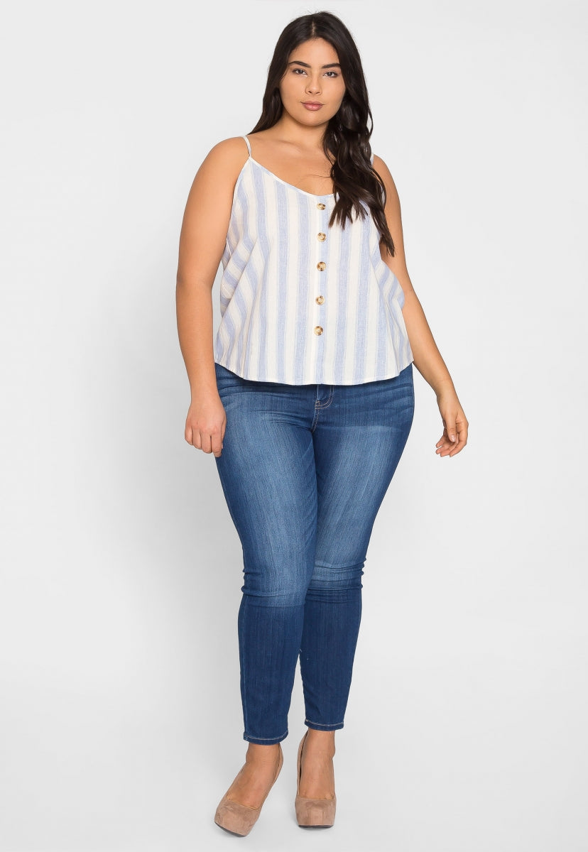 Plus Size Fun Button Front Stripe Top in Blue - Plus Tops - Wetseal