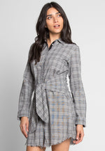 Eclipse Plaid Front Tie Shirt Dress in Gray