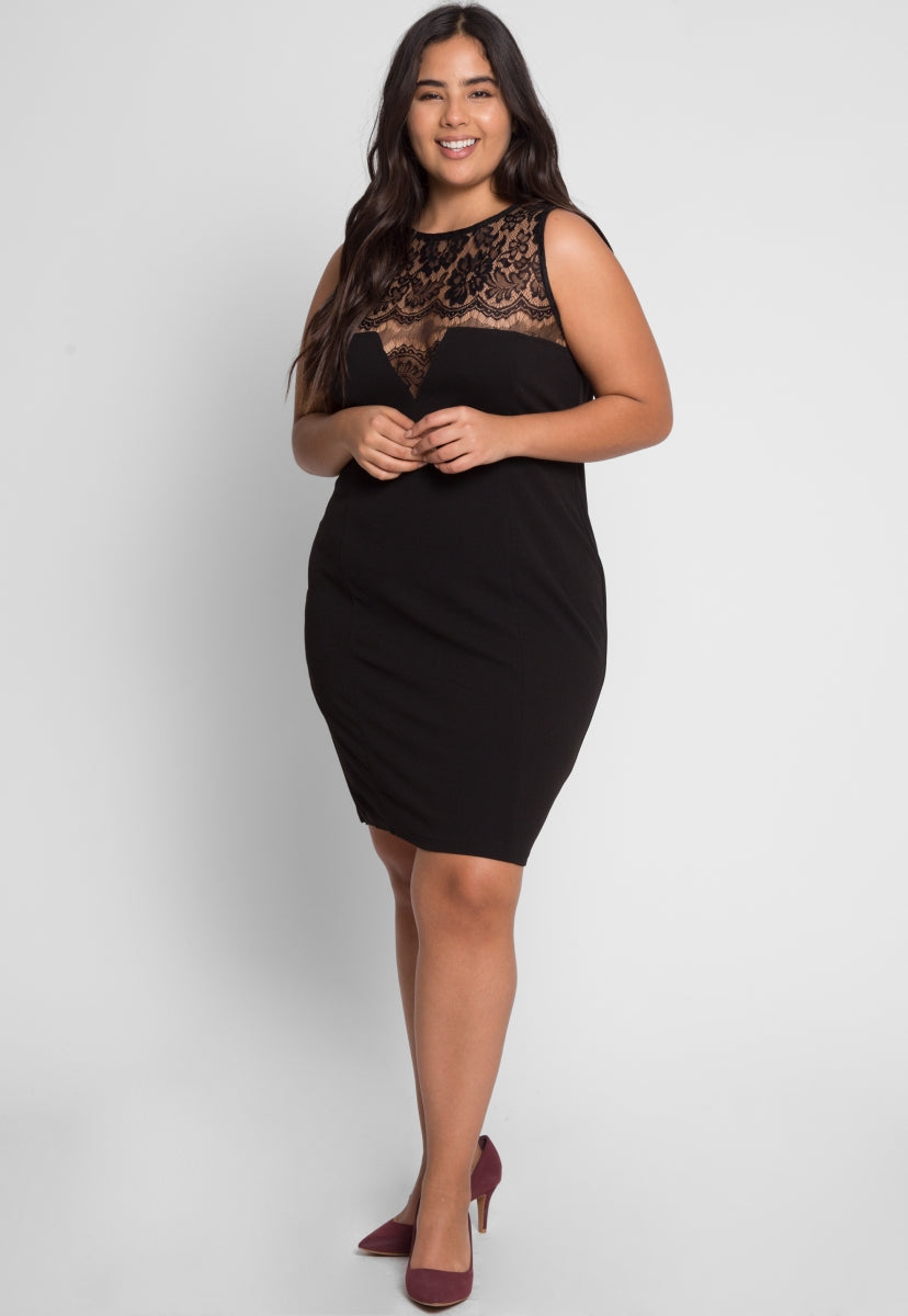 Plus Size Soiree Fitted Dress in Black - Plus Dresses - Wetseal