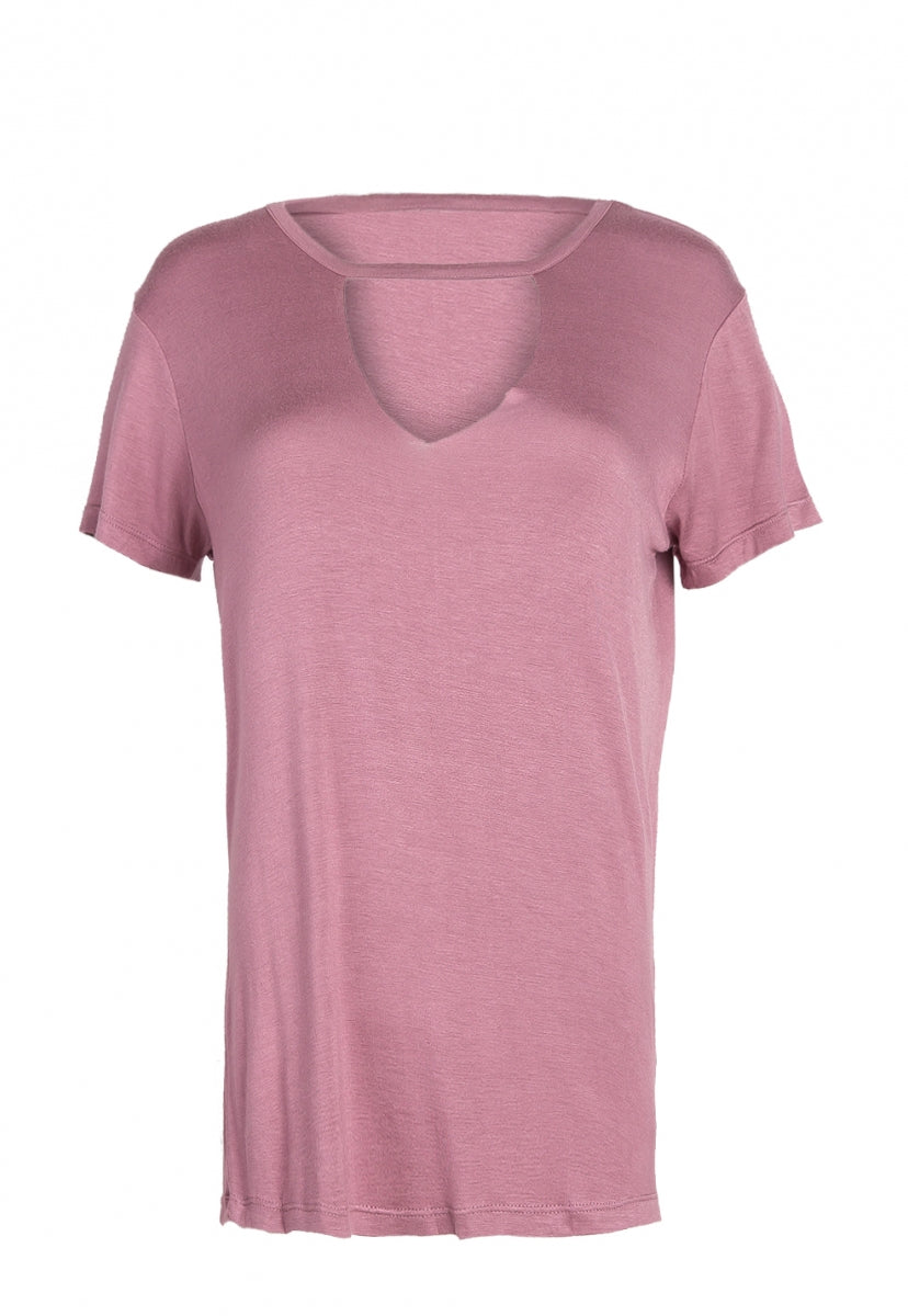 Winston V-Neck Cut Out Breezy Tee - T-shirts - Wetseal