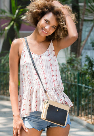 Double Zip Straw Crossbody Bag in Black
