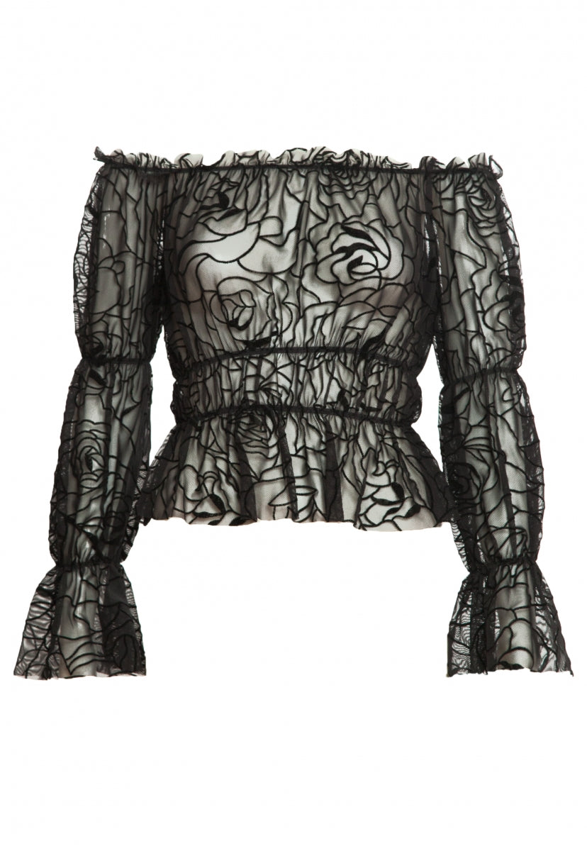 Hollows Sheer Gathered Top in Black Print - Shirts & Blouses - Wetseal