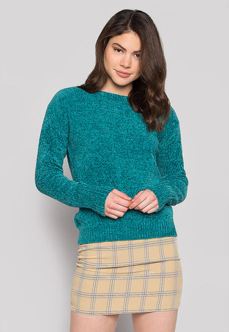 Sweet Melody Chenille Sweater in Teal
