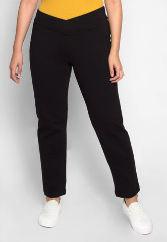 Plus Size Macaroon V-Waist Leggings in Black