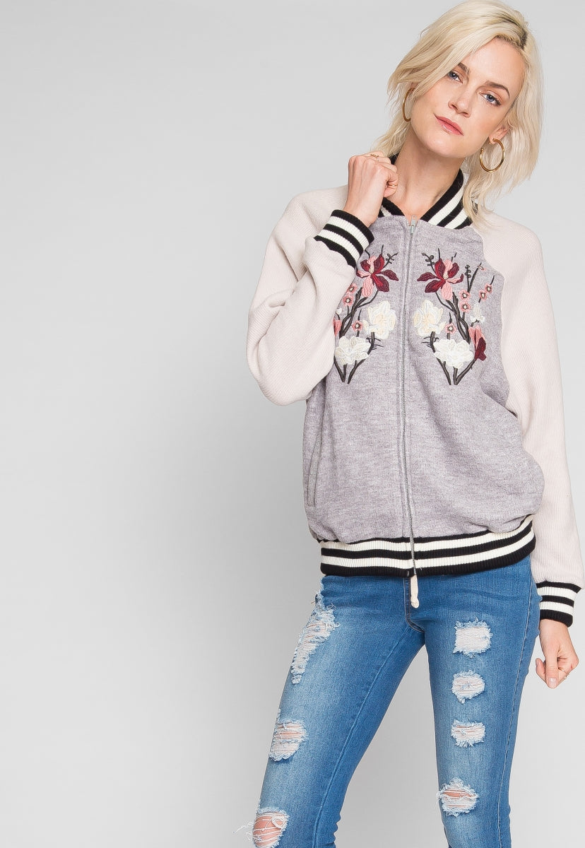 Embroidered bomber jacket in gray - Jackets & Coats - Wetseal