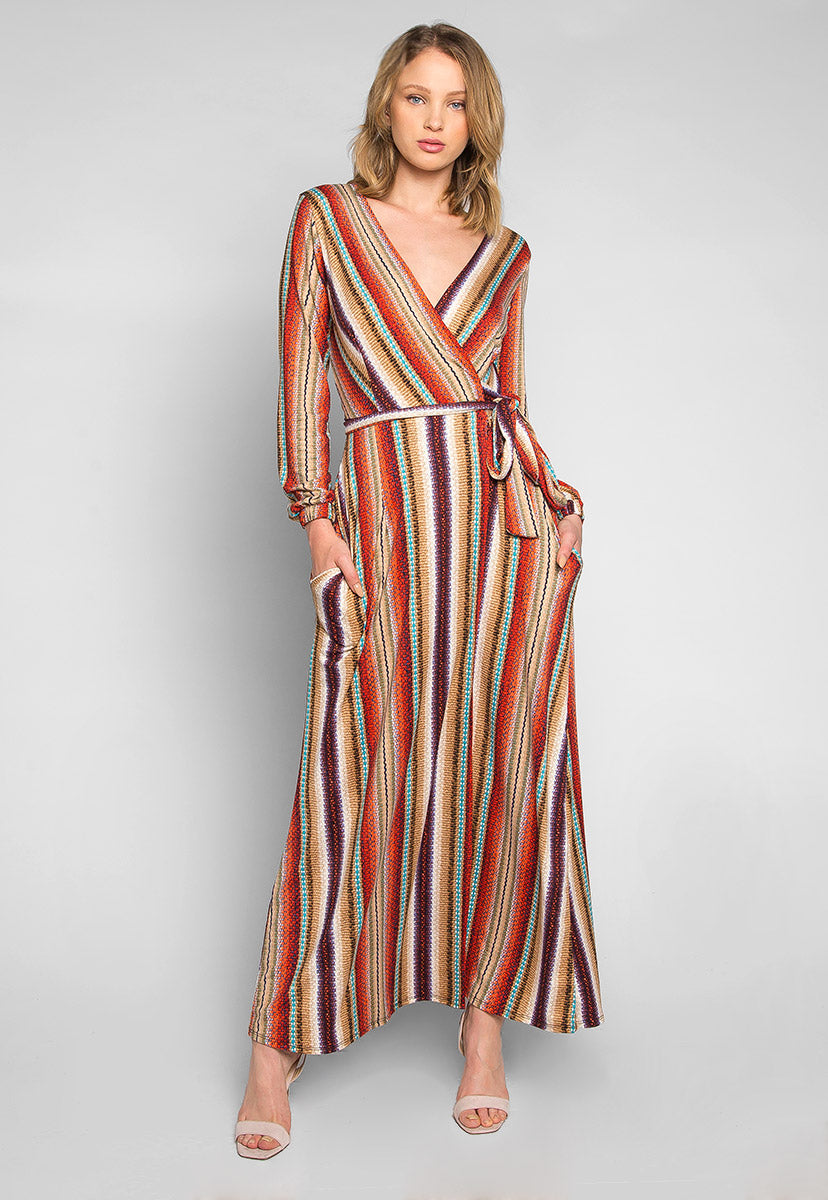 Lighting Up Striped Wrap Maxi Dress - Dresses - Wetseal