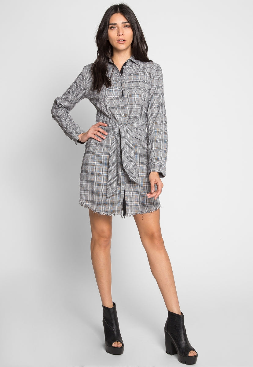 Eclipse Plaid Front Tie Shirt Dress in Gray - Dresses - Wetseal