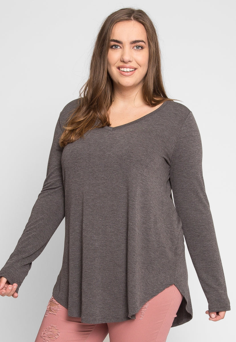 Plus Size Perfection V-Neck Knit Top in Charcoal - Plus Tops - Wetseal