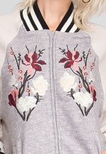 Embroidered bomber jacket in gray