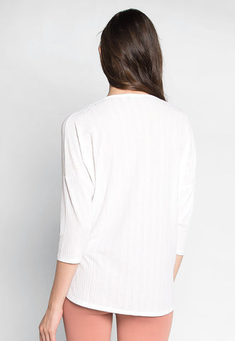 Always Fun Knot Front Blouse in White