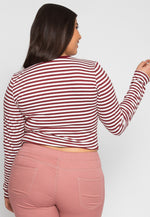 Plus Size Bang Stripe Top in Burgundy