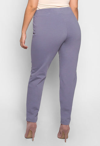 Plus Size Macaroon V-Waist Leggings in Gray