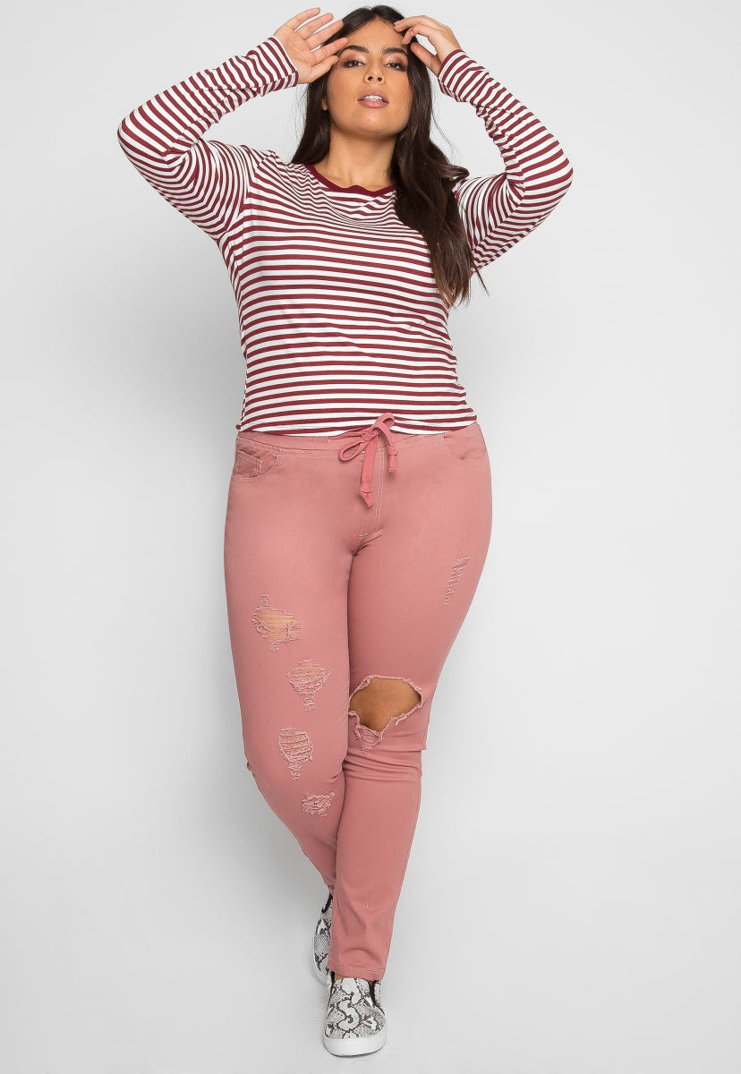 Plus Size Bang Stripe Top in Burgundy - Plus Tops - Wetseal