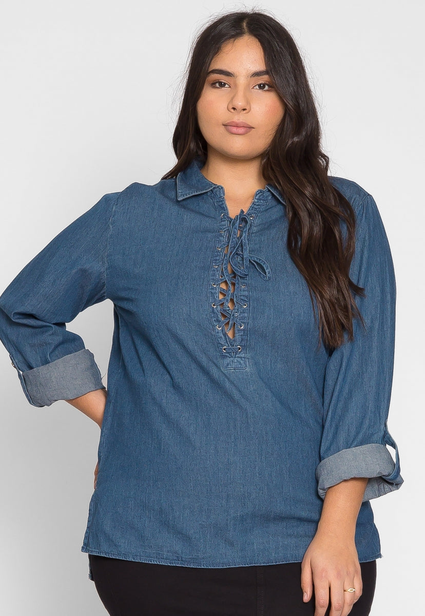 Plus Size Ranch Lace Up Tunic Top - Plus Tops - Wetseal