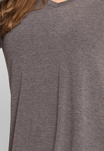 Plus Size Perfection V-Neck Knit Top in Charcoal