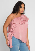 Plus Size Asymmetrical Satin Blouse in Pink