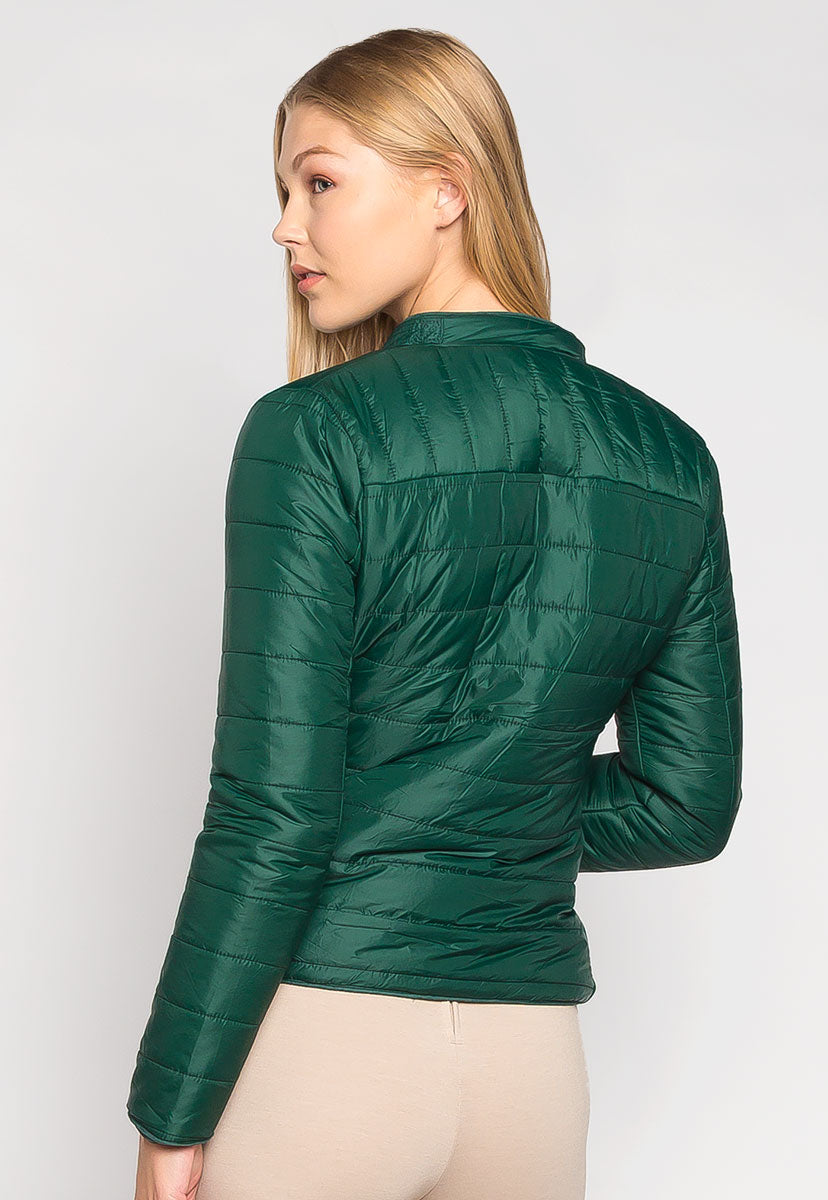 Feel the Love Soft Lining Quilted Jacket in Green - Jackets & Coats - Wetseal
