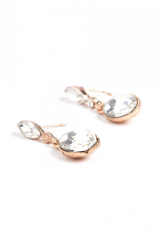 Drop Rhinestone Earrings in Gold