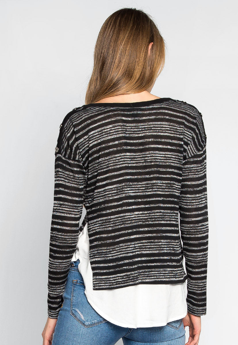 Wild Fruits Layered Stripe Knit Top in Black - Shirts & Blouses - Wetseal