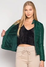 Feel the Love Soft Lining Quilted Jacket in Green