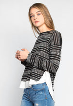 Wild Fruits Layered Stripe Knit Top in Black