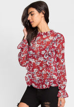 Floral Ruffle Top in Red