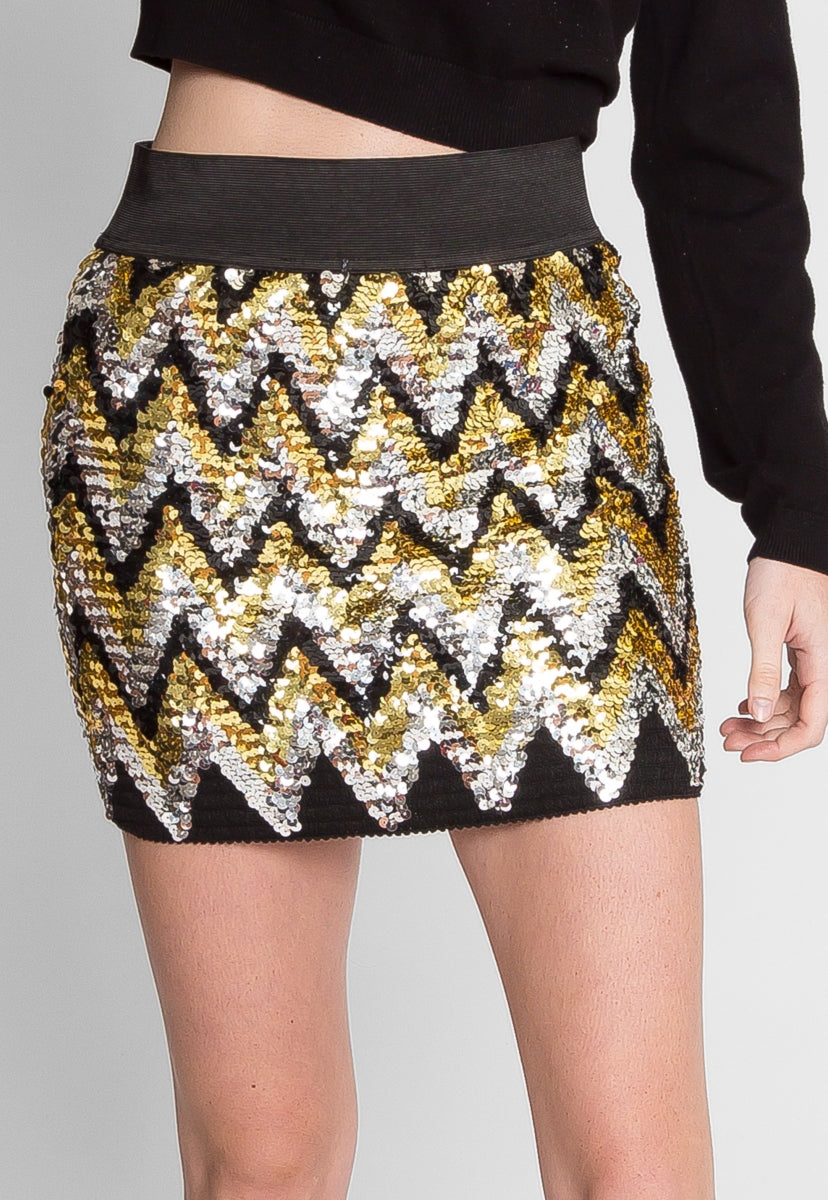 Celestial Chevron Sequin Mini Skirt - Skirts - Wetseal