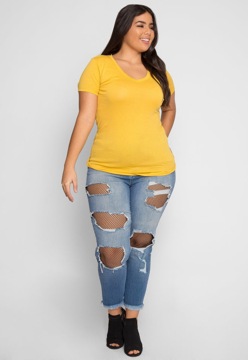 Plus Size The Basics V-Neck Tee in Yellow - Plus Tops - Wetseal