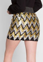Celestial Chevron Sequin Mini Skirt