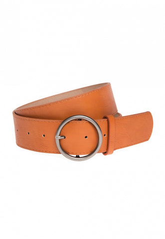 Faux leather circle buckle belt in orange