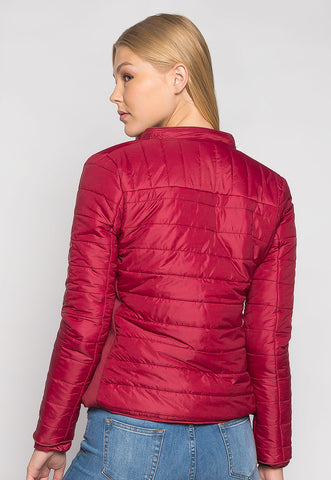 Feel the Love Soft Lining Quilted Jacket in Red