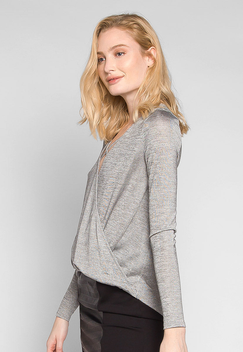 Jessie Wrap Heathered Knit Top - Shirts & Blouses - Wetseal