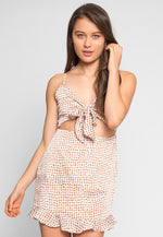 Coney Polka Dot Mini Dress in Brown
