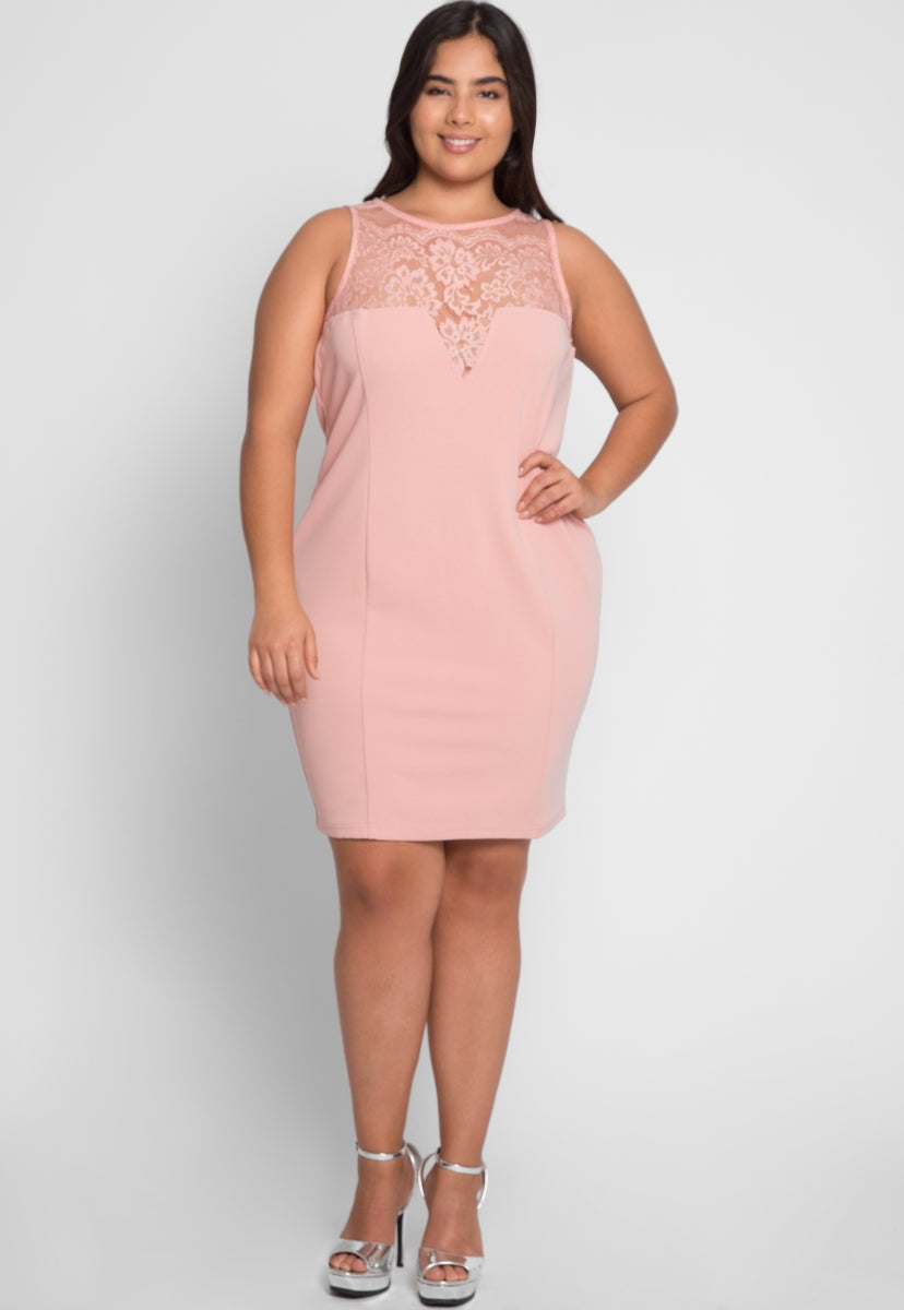 2b3854dc5a Plus Size Soiree Fitted Dress in Blush