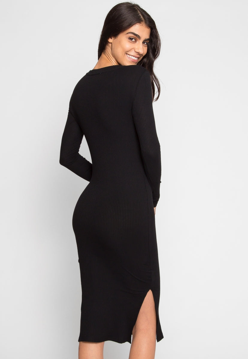 Canon Knit Midi Dress in Black - Dresses - Wetseal