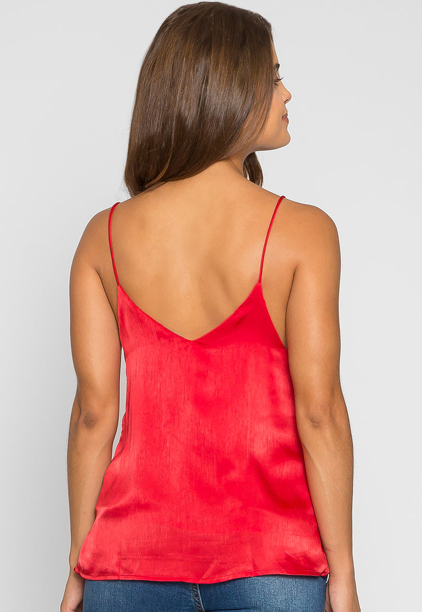 Garnet Gem Satin Cami Top in Red - Shirts & Blouses - Wetseal