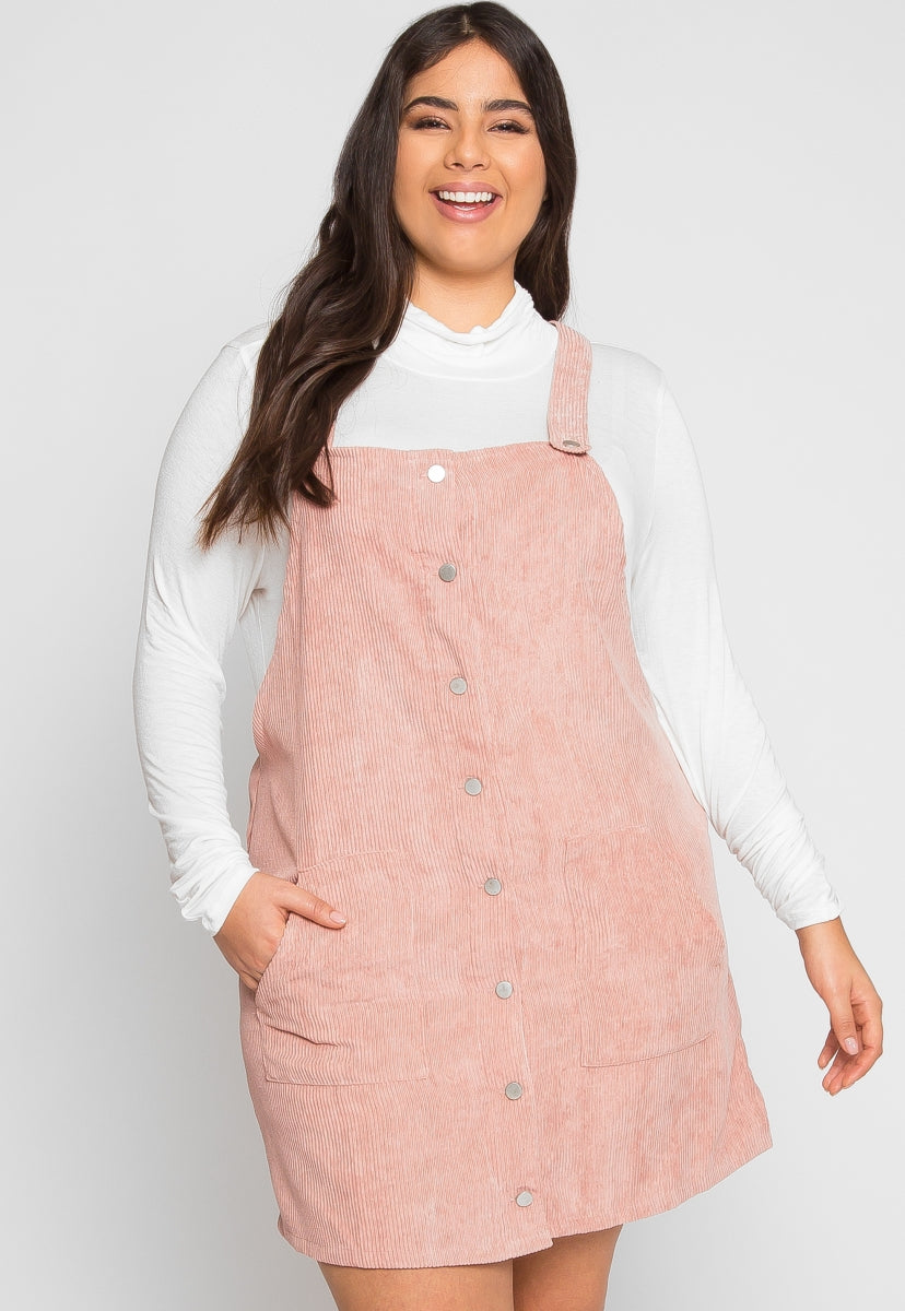 Plus Size Corduroy Pinafore Dress in Pink | Wet Seal